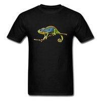 крутые черные толстовки оптовых-Сварливый Хамелеон 2018 прохладный мужская черная футболка 3D животных печати o шеи с коротким рукавом футболка смешные группа подарок толстовка