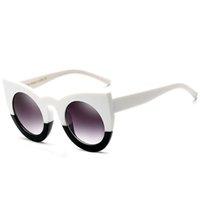 kadın s yuvarlak güneş gözlüğü toptan satış-2018 Yuvarlak Kedi Göz Güneş Kadınlar Sıcak Tasarımcı 90 S Vintage Beyaz Siyah Kadın Cateye Güneş Gözlükleri Shades 360