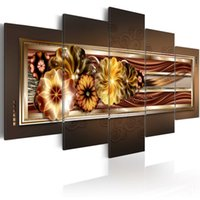 panneau d'art mural d'or achat en gros de-Amosi Art Painting 5 panneaux Wall Art Painting Imprimer la fleur d'or d'hortensia sur toile Image pour la décoration de maison et de bureau