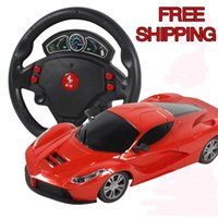 Wholesale gravity wheels - Mini 4 Channels Steering Wheel Electric Toy Rc Car Gravity Sensing Remote Control Automobile Racing Car Toys High Speed Model