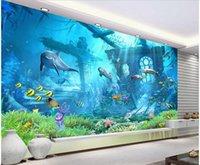 подводный дельфин оптовых-3D комната обои пользовательские настенная роспись фото Морской мир подводные реликвии дельфины гостиная Home decor 3D настенные росписи обои для стен 3 d