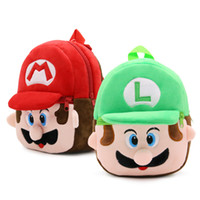 Wholesale baby blue gifts - New arrival 100% 21*23.5CM Cotton Super Mario Bros Mario & Luigi Mini School Bag Plush Backpacks For Baby Gifts ZQW-A