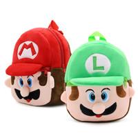 bebek varış hediyeleri toptan satış-Yeni varış 100% 21 * 23.5 CM Pamuk Süper Mario Bros Mario Luigi Mini Okul Çantası Peluş Sırt Çantaları Bebek hediyeler Için ZQW-A