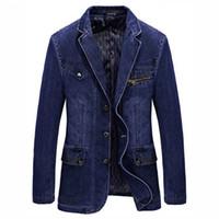 casaco de sobretudo venda por atacado-Marca Clássico Roupas Homens Jaquetas Denim Blazer Casaco Slim Fit Jeans Casuais Blazer Azul Royal Suit Homens Jaqueta Com Patches