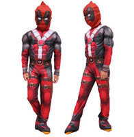 Wholesale deadpool halloween costume kids for sale - kids Deadpool Cosplay Costume Deadpool Jumpsuits Cosplay Suit With Mask Halloween Party Cosplay Costume clothes mask sets KKA6047