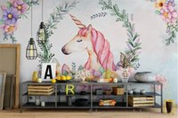 Wholesale Chinese Kitchen Decor - custom mural 3d wallpaper Hand draw the leaves unicorn decor painting 3d wall murals wallpaper for living room walls 3 d