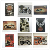décorations en fer blanc achat en gros de-Hot vente Harley rétro Vintage affiche en métal signe de l'étain pour Man Cave Garage autocollant mural chic minable Cafe Bar décor à la maison