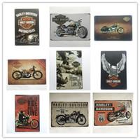 eski kalay levhaları toptan satış-Sıcak Satış Harley Retro Vintage Metal Metal Tabela Posteri Man Cave Garaj shabby chic duvar sticker Cafe Bar ev dekor