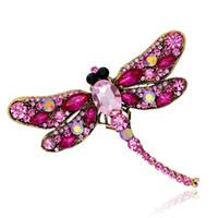 ingrosso sciarpe di gioielli libellula-Vintage Style Shinny Crystal Rhineston Dragonfly Spille per le donne Dress Scarf Brooch Pins Accessori gioielli Regalo 7 colori DB