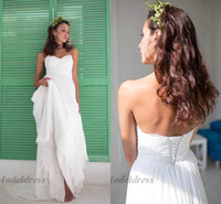 Wholesale chiffon strapless beach wedding dresses resale online - Chiffon Beach Wedding Dresses Sweetheart A Line Lace Appliques Bottoms Pleated Strapless Lace up Back Elegant Bohemian Bridal Gowns