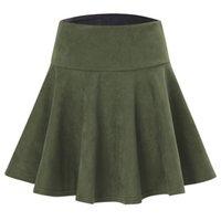 ingrosso mini pannello esterno sottile dimagrante-Liooil Women Mini Skirt New 2017 Autunno Inverno Casual Fashion Zipper Slim Black Army Geen Vino rosso Gonne delle donne