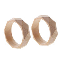 facettierte armbänder großhandel-2 Stück 24mm breit natürliche unvollendete facettierte Holz Armreif DIY Holz Handwerk