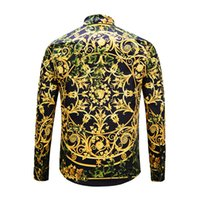 Wholesale Dog Dress Shirt - 2018 Autumn winter Harajuku Medusa gold chain Dog Rose print shirts Fashion Retro floral sweater Men long sleeve tops shirts