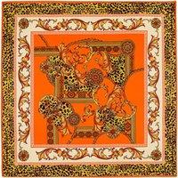 kettendruck seidenschals groihandel-Neue Twill Seidenschal Frauen Leopard Kette Druck Quadrat Schals Mode SchalWraps Weibliche Foulard Halstuch Halstuch 100 cm * 100 cm