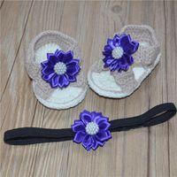 handgewebte perlen großhandel-Koreanische Version von schönen Blumen, reine Hand gewebte Baby Plüsch Schuhe, Sandalen sind jetzt nach Maß. Perle Sandalen Baby Mädchen