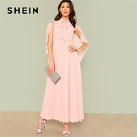 20187 SHEIN Pink Elegant Party Tie Neck Cloak Sleeve Pleated Panel Stand  Collar High Waist Maxi Dress Summer Women Going Out Dresses 325313c76969