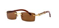 ingrosso caso di occhiali da sole di bambù-Nuovo arrivo 2018 occhiali da sole di marca per uomo donna corno bufalo occhiali da sole senza montatura in legno di design di bambù con astuccio
