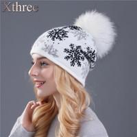 sombrero de punto de piel de visón al por mayor-XTHREE real mink pom poms lana sombrero de punto de piel de conejo Skullies sombrero de invierno para mujeres niñas feminino gorros