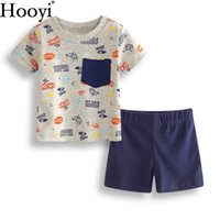 Wholesale t shirt cars baby - Hooyi 2018 Baby Boy Clothes Sets Fashion Super Hero Car Newborn Clothing 2-pieces Suit Summer T-Shirts Panties Infant Tops Tees Tracksuits