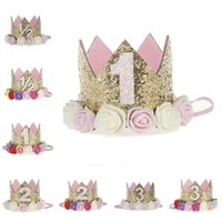 Wholesale Mini Tiara Headband - Artificial Delicate Mini Felt Glitter Crown with Flower Headband For Birthday Party DIY Garments Hair Decorative Accessories