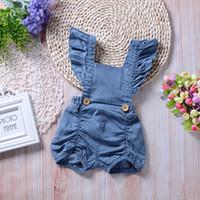 Wholesale Denim Baby Rompers - Infant Baby Girls Denim Ruffles Rompers Toddler Fashion Flutter Sleeve Jumpsuits Babies Spring Cute Romper 2018 Kids Clothing
