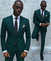 Wholesale Wedding Ties For Men Green - 2018 New Style Custom Made Wedding Suits For Men Tuxedos Groom Party Suit Dark Green Slim Fit Wedding Suits Groomsman (Jacket+Pants+Tie)