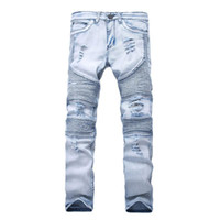 pantalones de mezclilla de moda al por mayor-Nuevo diseñador para hombre Jeans flaco con delgado elástico Denim Fashion Bike Jeans de lujo hombres pantalones rasgado agujero Jean para hombre más el tamaño 28-38