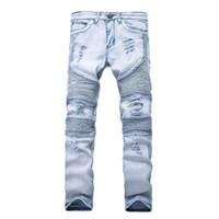 ingrosso jeans design designer-Nuovi jeans da uomo di design skinny con denim elastico sottile Fashion Bike Luxury Jeans Uomo Pantaloni strappato foro Jean per gli uomini Plus Size 28-38