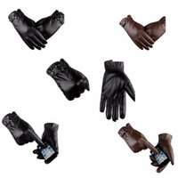 Wholesale men leather driving gloves resale online - Men s Gloves Winter Mittens Keep Warm Touch Screen Windproof Driving Winter Leather Gloves Business glove LJJK1118