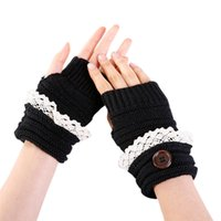 женские трикотажные перчатки оптовых-Mittens Womens Free Knitting Fashion Women Winter Short Lace Button Warmer Knitted Fingerless Gloves Mitten 30SP4