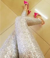 sexy pantalones brillantes negros al por mayor-Sexy Fashion Ladies Brillante oro negro plata con lentejuelas más tamaño en relieve Spangle Glitter Paillette Leggings mujeres pantalones