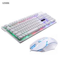 establecer teclado al por mayor-Juego de juego retroiluminado con teclado y ratón con cable Juego de juego con teclado y ratón con cable Ratón negro / blanco