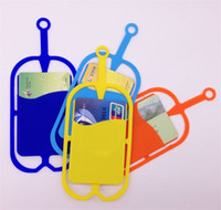 Wholesale cell phone neck cases resale online - 2018 Fashion Silicone Card Holder With Mobile Lanyard mobile Lanyard silicone Phone Lanyard Neck Strap Lanyard Cell Phone Case