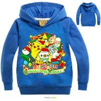 ingrosso costumi pikachu dei bambini-Felpe con cappuccio stampa per bambini di Pikachu Stampini per bambini Felpe per bambini Outwear Cappotto Abbigliamento per bambini Ragazzi Ragazze Costume