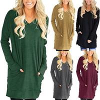 Wholesale Womens Plus Tunic - Womens Round Neck Long Tunic Top Dress 3 4 Sleeve Shirt S M L XL Plus 2X 3X
