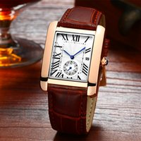 Wholesale Beautiful Sports - Original Rectangle Square Mens Watches Fashion Luxury Brand Calendar Beautiful Wristwatches Quartz Leather Strap Business Sports Men Watch