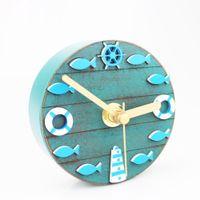 Wholesale Decoration Fish Stickers - Creative Unique Mediterranean Style Kitchen Refrigerator Fridge Magnet Clock 3.3' Portable Wall Clock Fish Modern Retro Home Decoration