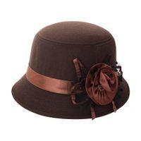 Wholesale vintage bucket hats women for sale - Group buy Fashion Vintage Women Fedora Hat Imitation Woolen Flower Autumn Winter Keep Warm Bucket Cap Elegant Ladies Bowler Hats