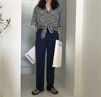 lindas blusas curtas venda por atacado-2018 Verão Nova Chegada Azul Blusa de Impressão De Leopardo Camisa Curta Luz E Fina Neutra E Bela Camisa Curta