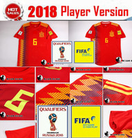 Wholesale Flashing Sizes - Player Version 2018 Spain World Cup Soccer Jerseys ASENSIO MORATA 19 Spain Home Shirts RAMOS ESPANA Player edtion Camisa size S-2XL