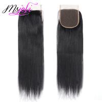 bakire saç güzellik toptan satış-Moğol Düz 9A Virgin İnsan Saç Güzellik Saç Dantel Üst Kapatma Üç / Orta / Ücretsiz Bölüm 6-22 Inç MS Joli