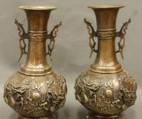 ingrosso pair draghi cinesi-Contrassegnato in rame cinese Decorazione della casa Dragon Ball Dragons Statue Vases Pot Pair