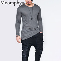 Wholesale asymmetrical hem tops - Moomphya 2018 Men hip hop long sleeve t shirt Asymmetrical Longline hem t-shirt men tshirt streetwear tops funny t shirts