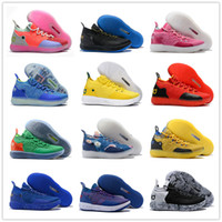 Wholesale grey kevin durant high cut shoes for sale - 2018 High quality Kevin Durant XI Home Yellow Blue Rainbow Basketball Sports Shoes KD Mens Trainers KD11 s Athletic Sneakers Size