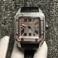 ensemble de bracelet en diamant achat en gros de-Full Diamond Watch Santos100XL Haute Qualité Quartz Mouvement Montre De Luxe Hommes 42mm 3 Couleur Bracelet En Cuir AAA 316 Acier Inoxydable