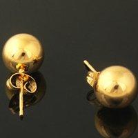 altın dolu toplar toptan satış-Top Damızlık Küpe 18 k Sarı Altın Dolu Pürüzsüz Yuvarlak Basit Stil Bayan Kız Pierce Küpe Hediye