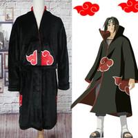 naruto cosplay toptan satış-Naruto Bornoz Cosplay Akatsuki Flanel Pijama Kış Elbiseler Uchiha Itachi Cadılar Bayramı Kostüm