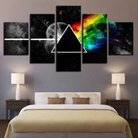 carteles de musica rock al por mayor-Wall Art Poster Lienzo Modular HD Impresiones Pinturas 5 Piezas Pink Floyd Rock Música Fotos Decoración Del Hogar Para el Marco de la Sala de estar