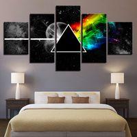 pinturas de lienzo para el hogar al por mayor-Wall Art Poster Modular Canvas HD Prints Paintings 5 Piezas Pink Floyd Music Pictures Decoración Para El Hogar