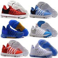 Wholesale Kevin Durant Shoes Colors - 2018 Top quality FMVP KD 10 EP X Mens Basketball Shoes for Warriors Home Colors Wolf Kevin Durant 10s KD10 Sports Sneakers US 7-12
